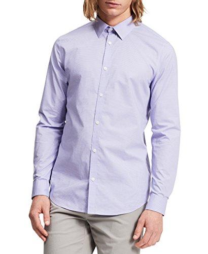 Calvin Klein Men's Check Long Sleeve Non-Iron Button Down Shirt, Madras Purple, X-Large
