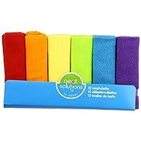 Neat Solutions - Juego de toallitas de tejido de terry de punto sólido, multicolor, 12 unidades