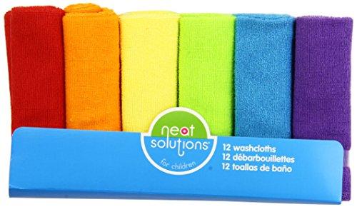 Neat Solutions 12 Solid Pack Lumineux Débarbouillette Set, les couleurs peuvent varier
