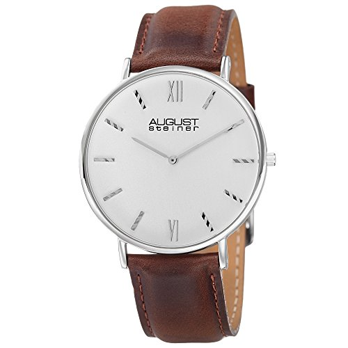 August Steiner Men's AS8166SSBR Silver Quartz Classic Watch with White Dial and Brown Leather Strap (White Polished Dial)