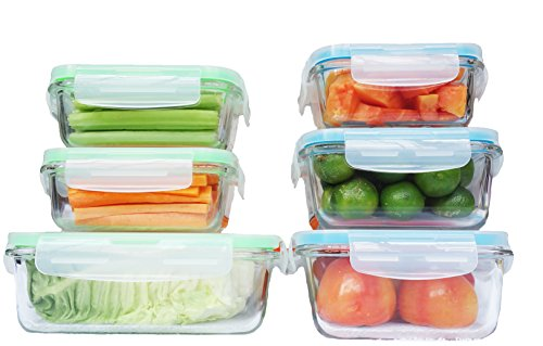 Elacra Glass Food Storage Containers with Locking Lids Perfect for