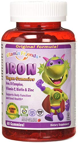 Vitamin Friends - Gummy Iron Supplements for Kids (60 Day) with B-Complex, Vitamin C, Zinc, Biotin - Iron Gummies Support Children Healthy Body Function & Iron Levels - Vegan, Organic, Allergen Free