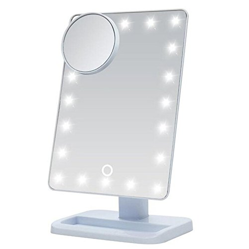 Cadrim LED Lighted Make up Mirror 20 Touch Screen LED Vanity Mirror with Removable 10x Magnifying Mirrors Adjustable Light Desktop Tabletop Cosmetic Mirror, revolving at 180° (White)