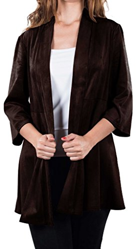Joseph Ribkoff Chocolate Brown Faux Suede Long Hem Coverup Style 163362 - Size 18 by Joseph Ribkoff