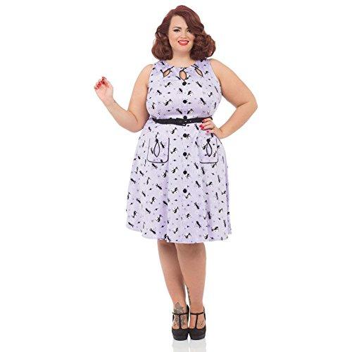 Womens-Voodoo-Vixen-Retro-Kitties-Keyhole-Flare-Dress-Plus-Size-Purple