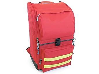 GIMA ref 27174 Mochila de ambulancia para emergencias sanitarias, poliéster, 40 x 30 x h 57 cm, roja, maleta de primeros auxilios, transportable, con compartimientos internos y externos