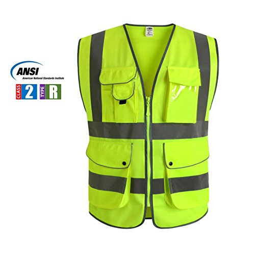 J.K 9 Pockets Class 2 High Visibility Zipper Front Safety Vest With Reflective Strips, Yellow Meets ANSI/ISEA Standards (Large)