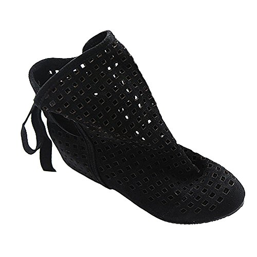 Pointed hollow out breathable flat sandals women black - 4