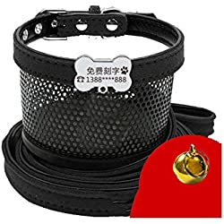 AMDXD Dog Harnesses and Leashes Black Velvet Harnesses Leashes Set for Dog Bone ID Tag XXS