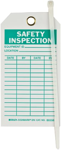 """Brady 86556 5-3/4"""" Height, 3"""" Width, B-851 Economy Polyester, Green On White Color Safety Inspection Tag (Pack Of 10)"""