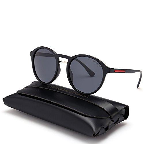 DRAGON CHARM Unisex Classic Small Round Retro Sunglasses Polarized Mirror G8910 Smoke Lens Black ()