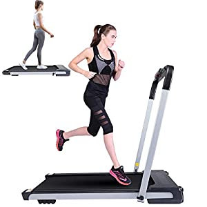 Well-Being-Matters 41y5Rsab-jL._SS300_ 2 in 1 Foldable Treadmill for Home Portable 1.5HP Walking Running Exercise Treadmill with LED Display, Remote Control…