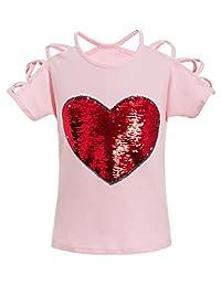 Feiterawn Girl's Cotton Short Sleeve/Sleeveless Heart Sequin Print T Shirt