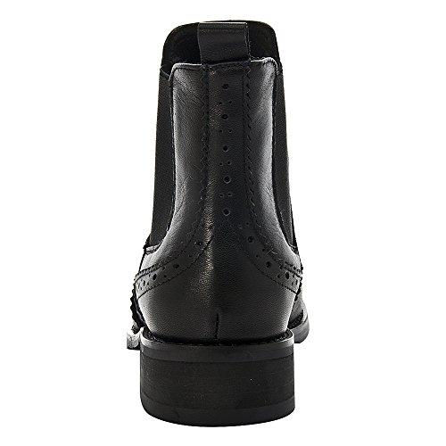 Chelsea Rismart Rivet Noir Cuir Confort Bottes no Brogue Wingtip Cheville Sur Femme Haute Glisser Bottines AAFrq6zn