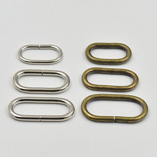 25 PCS Metal Loop Oval Ring Clips Hook for Leather Purse Bag Handbag Strap (1.25