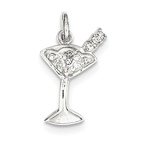 925 Sterling Silver Cubic Zirconia Cz Martini Pendant Charm Necklace Food Drink Fine Jewelry Gifts For Women For Her