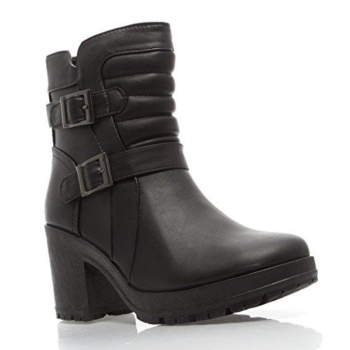 V-Luxury Womens 40-TROY16 Closed Toe Med Platform Heel Ankle Boot Shoes, Black PU Leather, 6 B (M) US -