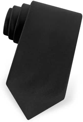 Men's 3 Inch Satin Narrow Tie Solid in Black