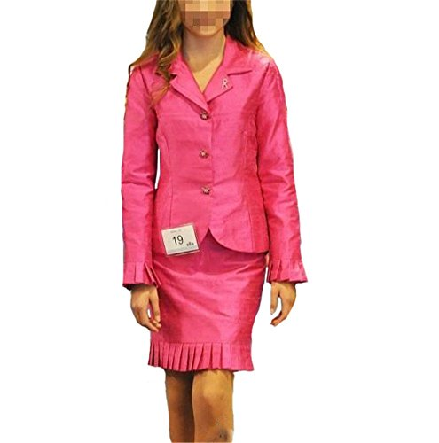 [MESQueen Girls' Long Sleeve Ruffles Skrit Dress Interview Pageant Suits 16 Fuchsia] (Pageant Suits)