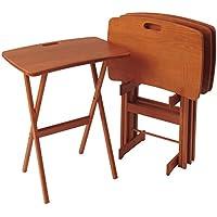 Manchester Wood Portable Folding Tray Table Desk Set of 4 - Golden Oak