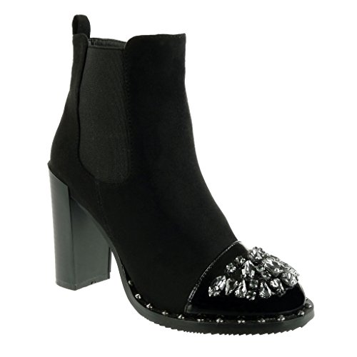 Angkorly Women's Fashion Shoes Ankle Boots - Booty - Chelsea Boots - Cavalier - Biker - Jewelry - Rhinestone - Studded Block High Heel 10 CM Black jrPHM