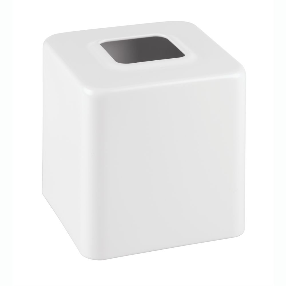 InterDesign Gia Facial Tissue Box Cover/Holder for Bathroom Vanity Countertops - White 16793