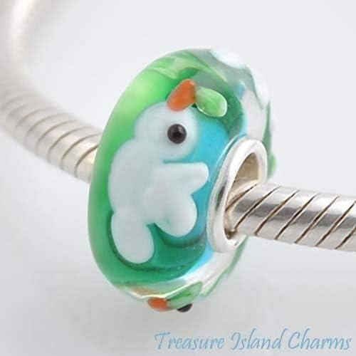 White Dove Bird LAMPWORK Murano Glass .925 European Bead Charm