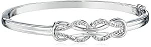 Sterling Silver Diamond Double-Knot Bangle Bracelet (1/4 cttw, J Color, I3 Clarity)