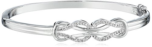 Slide Rhodium Diamond Bracelet - Sterling Silver Diamond Double Knot Bangle Bracelet (1/4 cttw, J Color, I3 Clarity)