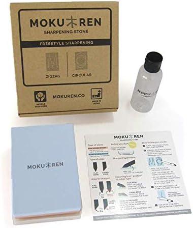 Wasserflasche und bebilderter Anleitung MOKUREN Japanischer Schleifstein Set mit 300//1000 K/örnung Stein
