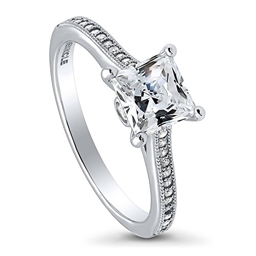 BERRICLE Rhodium Plated Sterling Silver Princess Cut Cubic Zirconia CZ Solitaire Promise Engagement Ring 1.42 CTW Size 9 (1 2 Carat Engagement Ring Princess Cut)