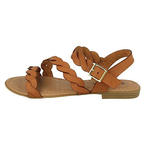 Savannah Ladies Flat Buckle Sandals Brown XW18K78EnX
