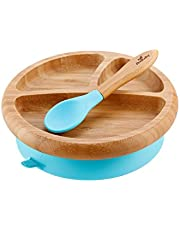 Avanchy Baby Feeding Bamboo Spill Proof Stay Put Suction Divided Plate + Baby Spoon - Great Baby Gift Set, Blue