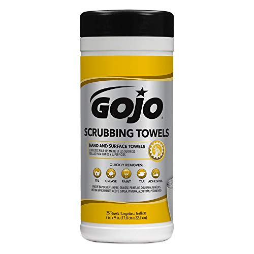 GOJO Scrubbing Towels, Fresh Citrus Scent, 25 Count Extra-Large Textured Wet Scrubbing Towels Canisters (Case of 6) - 6383-06 by Gojo (Image #1)