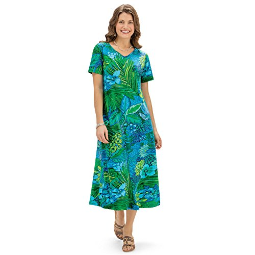 Collections Etc Women's Tropical Print Short Sleeve Knit Dress, Green Multi, XX-Large