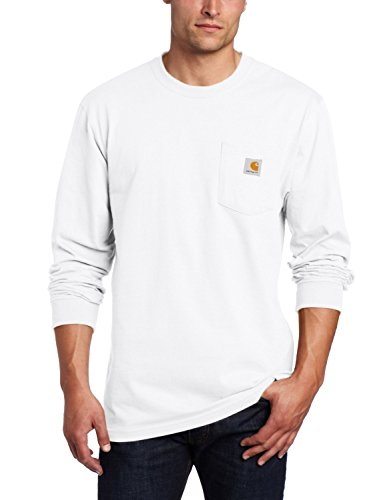 Carhartt Men's Workwear Midweight Jersey Pocket Long-Sleeve T-Shirt K126, White, X-Large