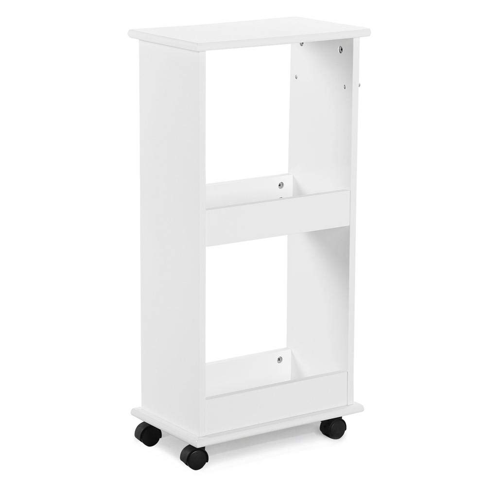 Topeakmart 2 Tier Bathroom Kitchen Corner Gap Space Saver Rolling Storage Shelf Rack, White