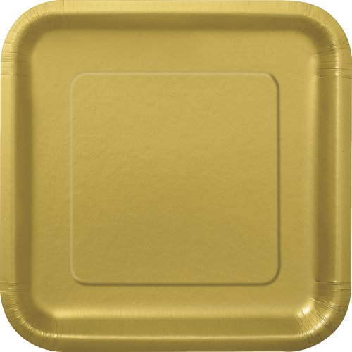 Square Gold Paper Plates 14ct