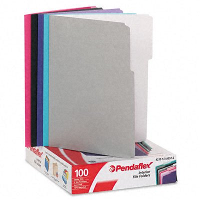 Pendaflex Interior File Folders, 1/3 Cut Top Tab, Letter, Pastel Assortment, 100/Box