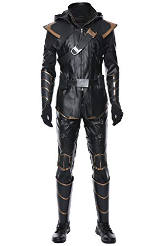 Men's Hawk Eye Ronin Cosplay Costume Adult Halloween Role Play Full Set Outfits,XS Black -
