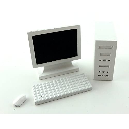 Maison De Poupées Blanc ordinateur PC 1:12 Moderne Miniature Bureau étude Accessoire