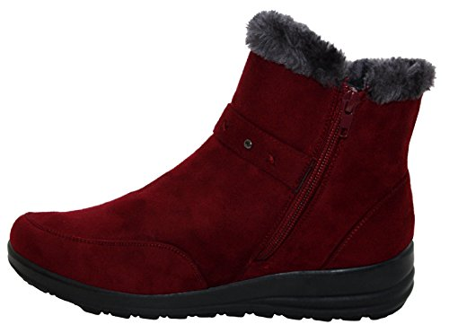 Girls Warm Zip Cushion Fur UK 8 Sizes 3 Lightweight Up Comfort Womens Boots Walk Casual Ladies Lined Winter Ankle Wine xzwqrR8z