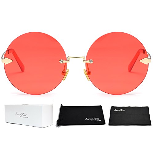 SamuRita Rimless Round Sunglasses Tinted Candy Color Arrow Design Lennon Style - Glasses Rimless Circular