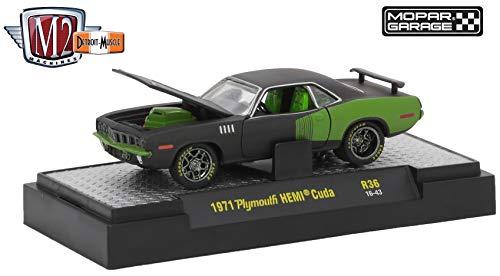 - M2 Machines 1971 Plymouth HEMI Cuda (Mopar Garage) - Detroit Muscle Release 36 2018 Castline Premium Edition 1:64 Scale Die-Cast Vehicle (R36 16-43)