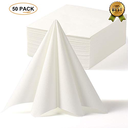 LEKOCH Disposable Guest Towel Linen Feel Dinner Napkin Paper | Air-laid Napkins, Soft, Absorbent, Paper Hand Towels for Kitchen, Bathroom, Parties, Weddings |16