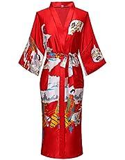 Joy Bridalc Women's Japanese Robe Traditional Geisha & Sakura Satin Kimono Long Bathrobe