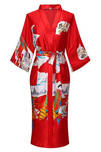 Old-to-new Womens Long Kimono Robe Lightweight Silk Bathrobe Nightgown with Pockets