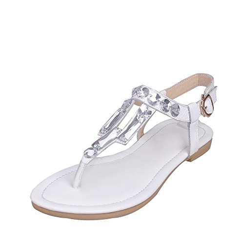 BalaMasa Womens Toepost Style Glass Diamond Soft Material Sandals White 3BKZcX