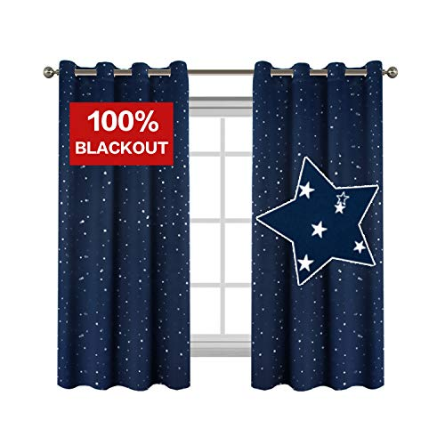 Flamingo P Full Blackout Thermal Insulated Curtain Panels Navy Star Curtains for Boys Room Grommet Star Curtains for Kids Room, 52 x 63 - Inch - 2 Panels