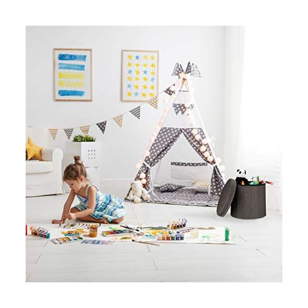 Relaxdays Tabouret avec espace de rangement, pliable, rembourrage doux, matelassé, tissu, HxD 43 x 46 cm, noir